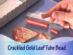 Crackled Gold Leaf Tube Beads