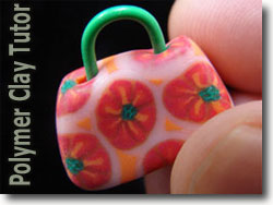 Orange Polymer Clay Purse Bead