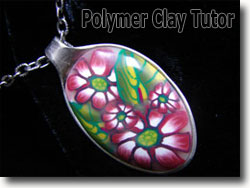 Polymer Clay Pendant Silver Spoon