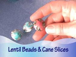 Cane Slice Lentil Beads