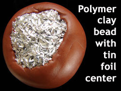 Large Polymer Clay Bead with Tin Foil Center