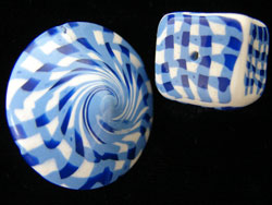 Blue Gingham Lentil Bead and Cube Bead