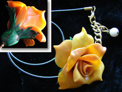 Polymer Clay Rose Pendant Necklace