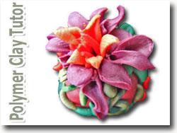 Sculpted Polymer Clay Flower Bead