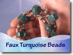 Faux Turquoise Bead Bracelet