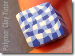 Blue Gingham Polymer Clay Cane