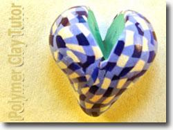 Blue Gingham Heart Bead