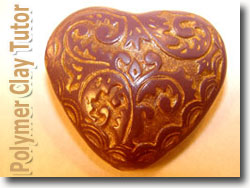 Heart Shaped Polymer Clay Bead From A Mold