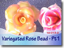 Variegated Sculpted Rose Beads