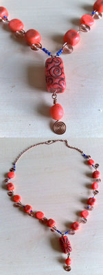 Orange and Copper Necklace by Silverleaf