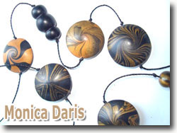 Polymer Clay Lentil Beads by Monica Daris