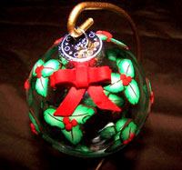 Holly and Berry Cane Christmas Ornament by Jackie Norris