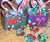 Holly and Berry Cane Christmas Tins and Wreath Ornaments by Sarah Wood