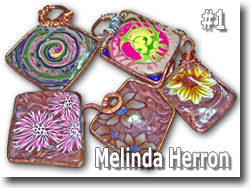 Polymer Clay Copper Bezel Pendants by Sarah Wood