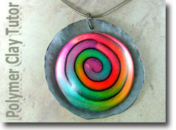 Rainbow Jellyroll Cane Pendant