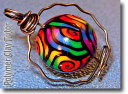 Rainbow Jellyroll Cane Bead