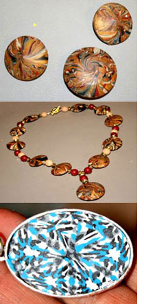 Polymer Clay Lentil Beads and Kaleidoscope Pendant by Mary Crech
