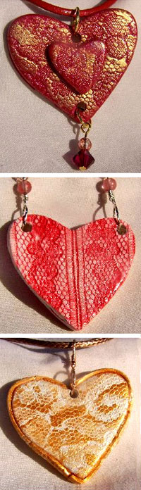 Polymer Clay Lace and Ink Hearts by Laurel Beilic