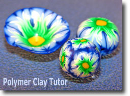Polymer Clay Spliced Flower Cane Beads