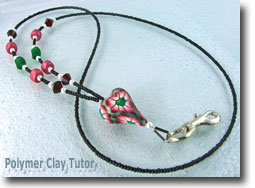 Beaded Lanyard with Polymer Clay Heart Focal Bead