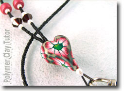 Beaded Lanyard with Polymer Clay Heart Focal Bead Close up