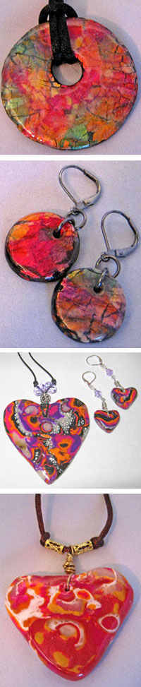 Crackled Gold Leaf and Molume Gane Polymer Clay Projects by Cheryl Hodges
