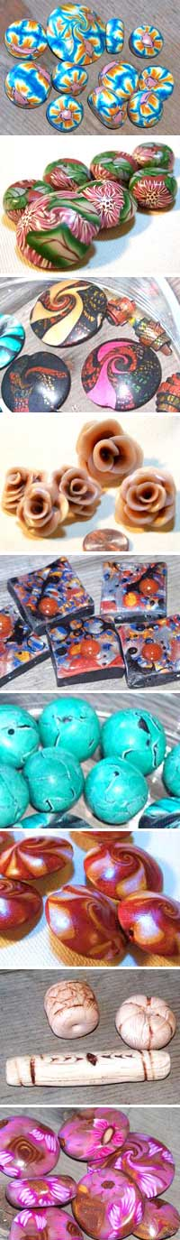 Assorted Polymer Clay Beads by Melinda Herron