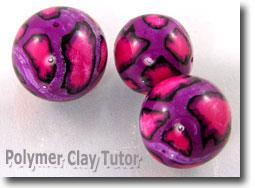 Purple Leopard Print Polymer Clay Beads