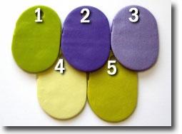 Boquet of Violets Palette, Kato Polyclay Color Recipes by Sue Fisher