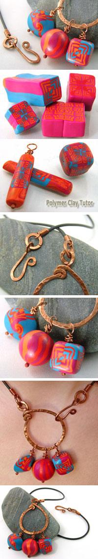 Polymer Clay Circus Theme Jewelry by Cindy Lietz