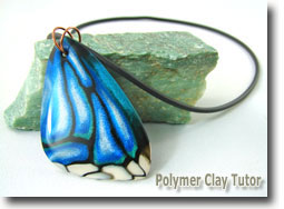 Polymer Clay Cane, Butterfly Wing Pendant by Cindy Lietz