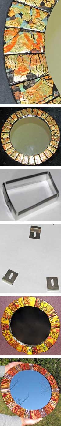 Polymer Clay Mirror Frame Tiles by Marsha Gustafson