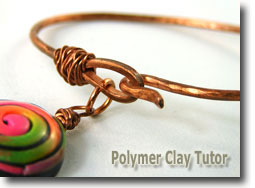 Copper Metal and Polymer Clay Bracelet by Cindy Lietz