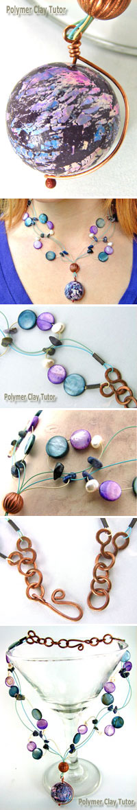 Faux Raku Focal Bead Necklace by Cindy Lietz