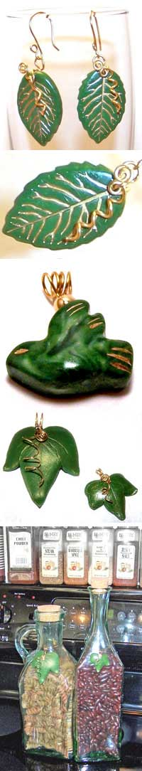 Polymer Clay Faux Jade and Leaf Charms by Brenda Moran
