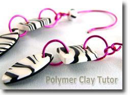 Polymer Clay Zebra Cane Earrings