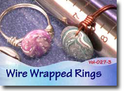 Wire Wrapped, Polymer Clay Coin Bead Rings