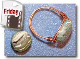 Wire Wrapped Faux Agate Bead Rings