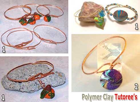 Polymer Clay Dangle Bangle Bracelets