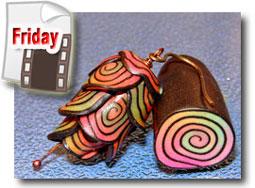 Glow In The Dark Jelly Roll Cane Slice Pod Bead