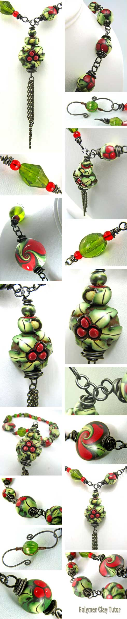 Holly Leaf And Berry Christmas necklace
