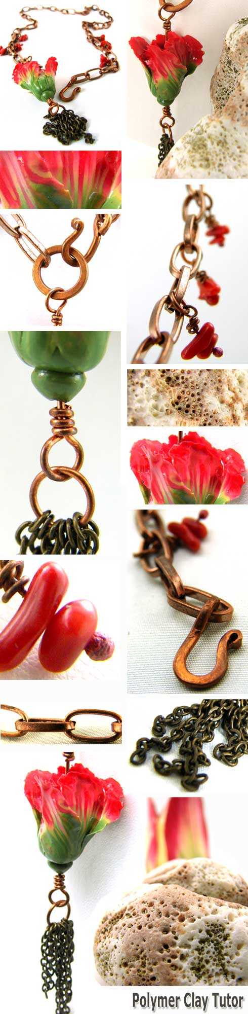Parrot Tulip Tassel Necklace - Polymer Clay Tutor