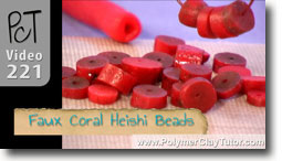 Faux Coral Heishi Beads
