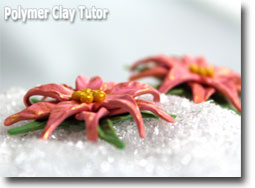 Pink Poinsettia Earrings - Polymer Clay Tutor