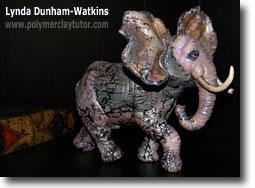 Faux Raku Elephant Lynda Dunham-Watkins - Polymer Clay Tutor