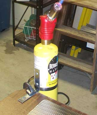 Clamped Propane torch