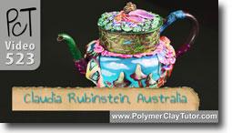 Claudia Rubinstein Polymer Clay Embellished Teapot