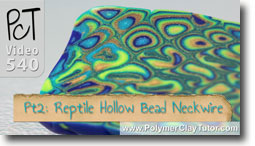 Pt 2 Reptile Pattern Hollow Lentil Bead Neckwire Tutorial - Polymer Clay Tutor