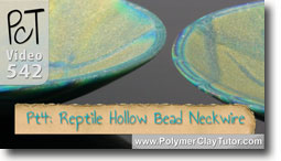 Pt 4 Reptile Pattern Hollow Lentil Bead Neckwire Tutorial - Polymer Clay Tutor