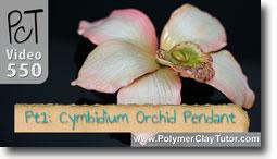 Cymbidium Orchid Pendant - Polymer Clay Tutor